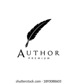 Feather Quill Pen Icon Logo Design Classic Stationery Illustration