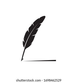 feather quill pen icon,classic stationery illustration