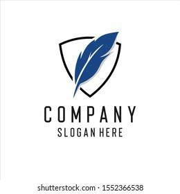 Feather Quill Pen Notary logo design inspiration