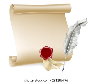 Feather quill pen and and paper scroll with red seal