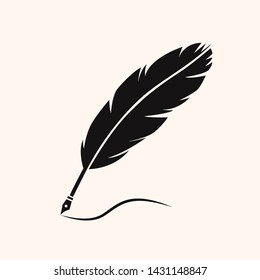 feather quill pen silhouette vector illustration symbol