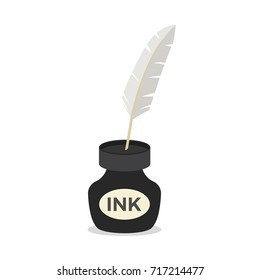 Feather quill pen standing in the bottle of ink icon. Flat illustration of feather quill pen standing in the bottle of ink vector