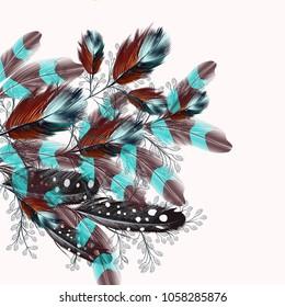 Feather realistic illustration in boho fashion style