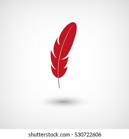 Feather - red vector  icon with shadow