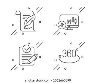 Feather, Rfp and Candlestick chart line icons set. Full rotation sign. Copyright page, Request for proposal, Report analysis. 360 degree. Science set. Line feather outline icon. Vector