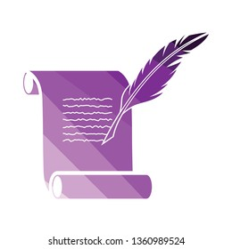 Feather and scroll icon. Flat color design. Vector illustration.