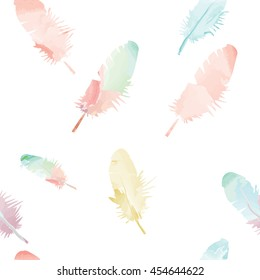 Feather seamless pattern in watercolor style. Watercolor feathers background.
