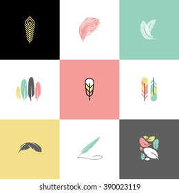 Feather. Set of modern logo design vector templates and icons