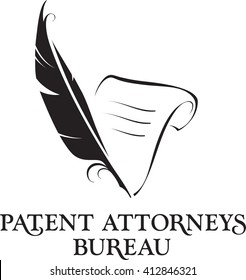 Feather and sheet of paper as Law office attorney logo.