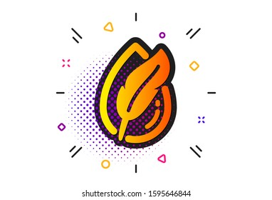 Feather sign. Halftone circles pattern. Hypoallergenic tested icon. No synthetic symbol. Classic flat hypoallergenic tested icon. Vector