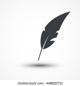 Feather sign icon. Black Retro pen symbol. Picture, Image, Logo, Flat Design, UI, Web, Art. Quinn feather icon. Feather pencil icon. Plume. Feather quill pen sign. Writer background. Author icon