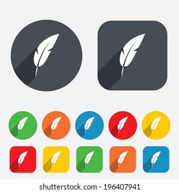 Feather sign icon. Retro pen symbol. Light weight symbol. Circles and rounded squares 12 buttons. Vector