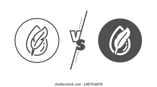 Feather sign. Versus concept. Hypoallergenic tested line icon. No synthetic symbol. Line vs classic hypoallergenic tested icon. Vector
