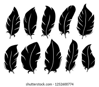 Feather silhouette. Bird wing feathers, lung quill and vintage pen or different flying weightless innocent feather. Floating quills antique isolated vector illustration icons set