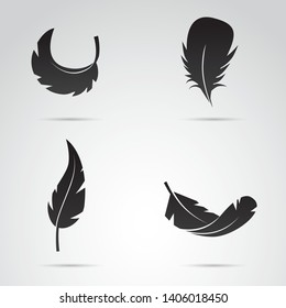Feather silhouette on white background. Vector art.