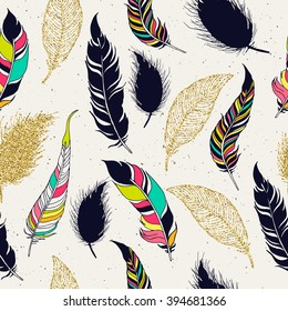 Feather tribal seamless pattern.  Hand drawn background for design and decoration textile, covers, package, wrapping paper.