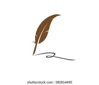 Feather writing Logo Template vector illustration