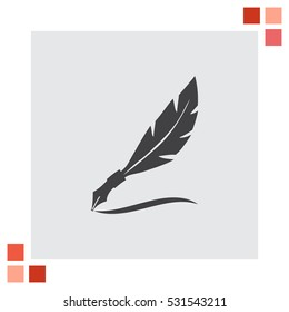 Feather writing vector icon. Quill sign. Letter symbol