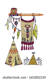 feathers, bow, wigwam, arrows, peace pipe, flag, coat of arms, symbol, indians, Aztecs, tribe, attributes, symbol, beast footprint, smoking pipe, set of colorful elements of indian tribe