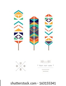 Feathers with ethnic pattern in vector isolated on a white background