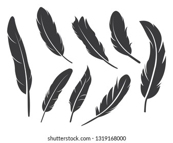Feathers icon set in flat style. feathers silhouette isolated on white background, vector illustration