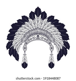 feathers native crown tribal style icon vector illustration design