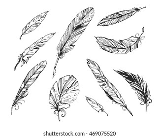 The feathers on a white background. Black and white illustration. Graphic image. Ethnic elements. It can be used as an idea for a tattoo.