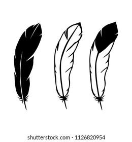 feathers set , black and white black logo elements