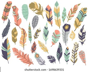 Feathers set.  Colored feathers art