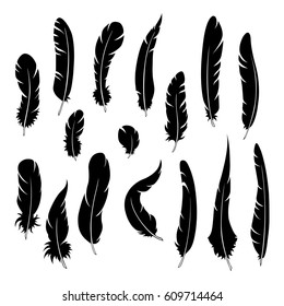 Feathers silhouettes. Isolated on white.