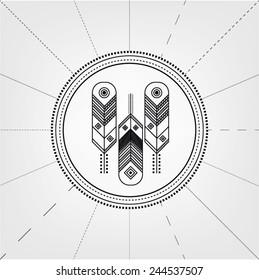 feathers symbol logo. ornament. engraving