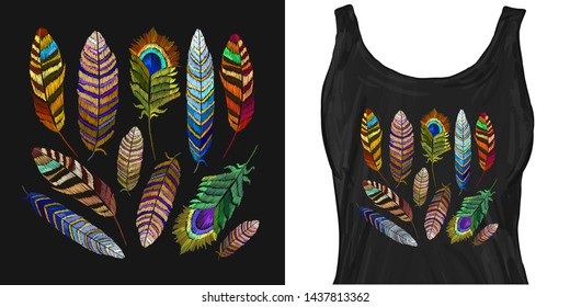Feathers of tropical birds embroidery. Trendy apparel design. Template for fashionable clothes, modern print for t-shirts, apparel art