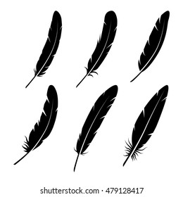 Feathers vector black and white silhouette collection. Feather vector illustration one color. Black vector feathers. Feather isolated on white background. Feather vector illustration set.