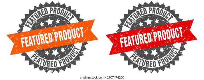 featured product grunge stamp set. featured product band sign