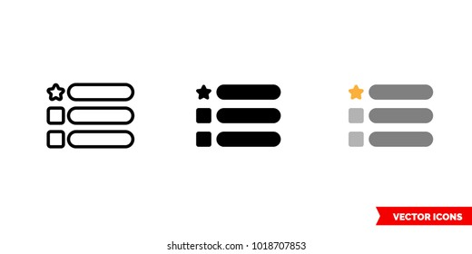 Features icon of 3 types: color, black and white, outline. Isolated vector sign symbol.