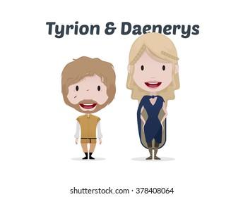 FEB 02, 2016:Game of thrones vector illustration: Tyrion & Daenerys