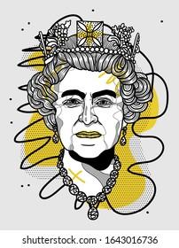 Feb. 12, 2020: Queen Elizabeth. Creative geometric style. Vector illustration hand drawn.