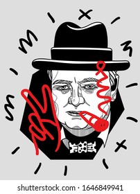 Feb. 16, 2020: Winston Churchill show peace sign and smoke.  Vector illustration hand drawn. Modern geometric style with dots.