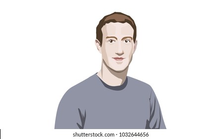 Feb, 2018: Facebook CEO Mark Zuckerberg. Vector portrait.
