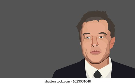 Feb, 2018: Famous founder, CEO and entrepreneur Elon Musk vector portrait.