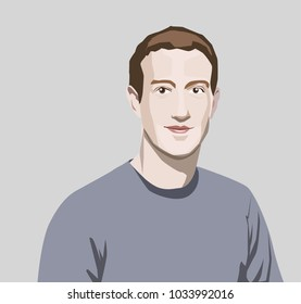Feb, 2018: Mark Zuckerberg vector portrait