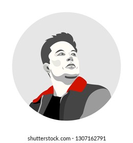 Feb, 2019: Elon Musk – famous founder, CEO and entrepreneur, engineer, Lead Designer. Vector minimalist portrait. Founder of Tesla Motors, Inc. and SpaceX. Vector black and white Elon Musk portrait.