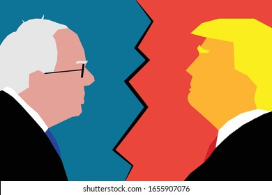Feb 25, 2020 - Character Illustration of Bernie Sanders facing Donald Trump. Illustrating the 2020 US presidential election