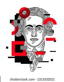 Feb.12, 2019: Vector illustration hand drawn. Johann Wolfgang von Goethe. Glitch.