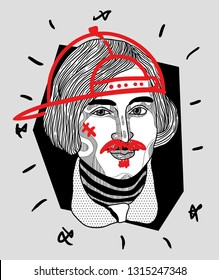 Feb.17, 2019: Nikolay Vasilyevich Gogol. Vector illustration hand drawn. Crazy portrait. With cap and mustache.