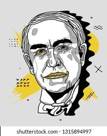 Feb.18, 2019: Thomas Edison. Vector illustration hand drawn. Creative geometric portrait.