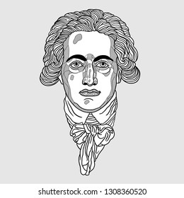 Feb.9, 2019: Vector illustration hand drawn. Johann Wolfgang von Goethe.