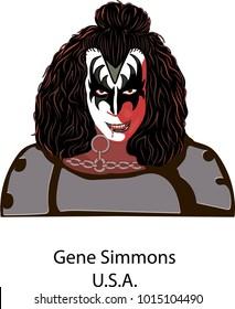 Febrary, 01, 2018 Illustration vector isoladed, Gene Simmons of KISS.