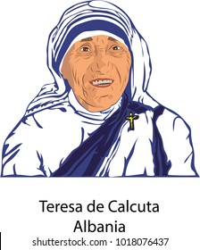 Febraury, 5, 2018 Mother Teresa of Calcutta, the Missionaries of Charity, illustration isolated vector.