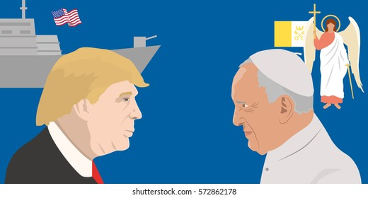 February 05, 2017: Vector illustration of the portraits of the USA President Donald Trump and Pope Francisco on blue background with forces. Relations between the USA and Vatican.